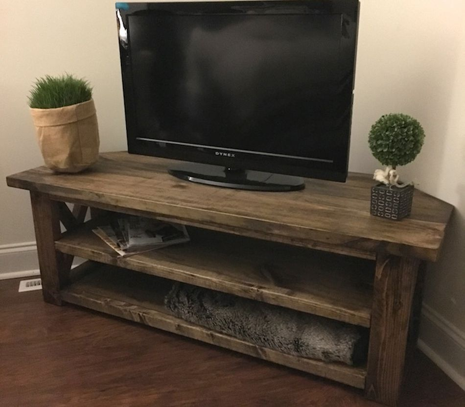 A Rustic Style Corner Tv Stand Home Pinterest Tv Stands