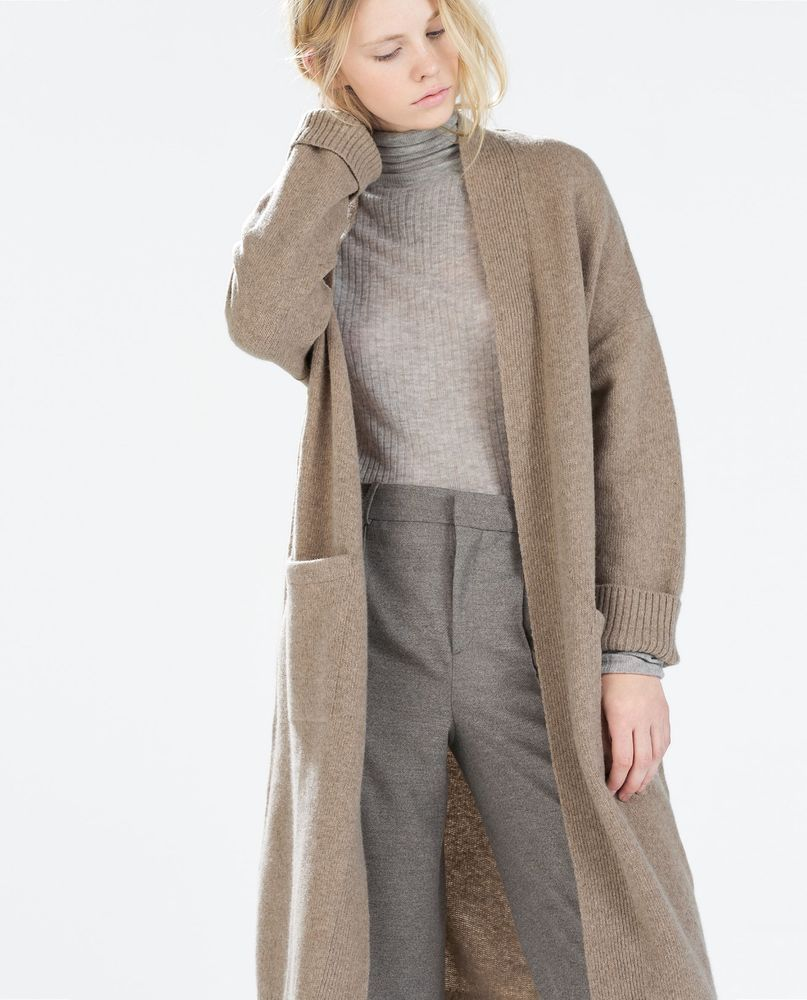 NWT ZARA Extra Long Wool Cardigan with Pockets Sweater Coat Dress ...