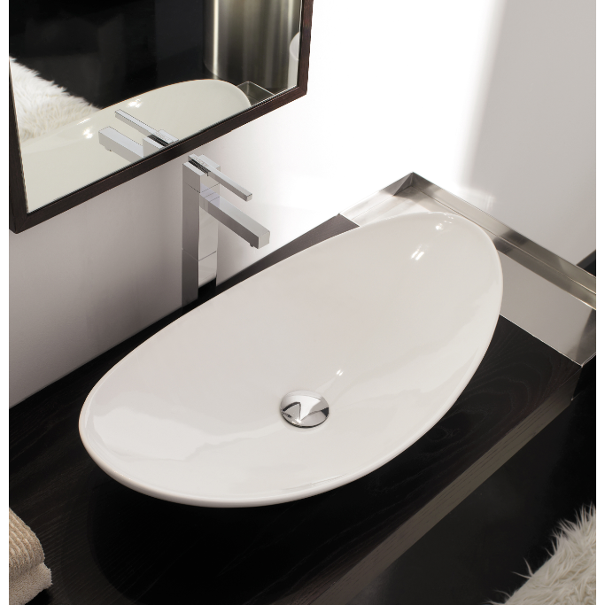 Contemporary Above Counter Oval Shaped White Ceramic Sink Stylish Vessel Sink Wit Above Counter Bathroom Sink Modern Bathroom Sink Contemporary Bathroom Sinks