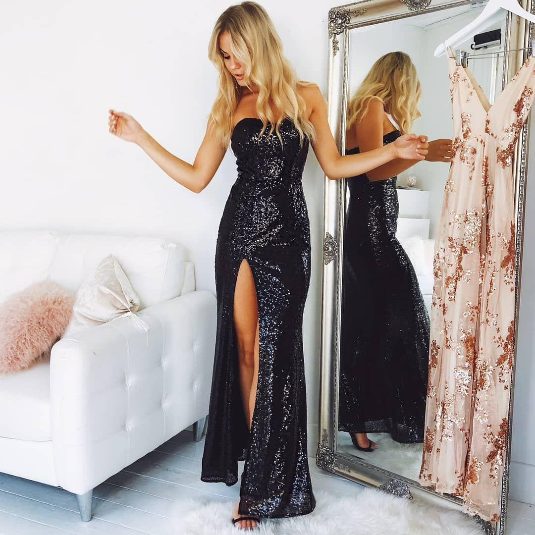 Elegant sweetheart black sequins long prom dresssplit sheath