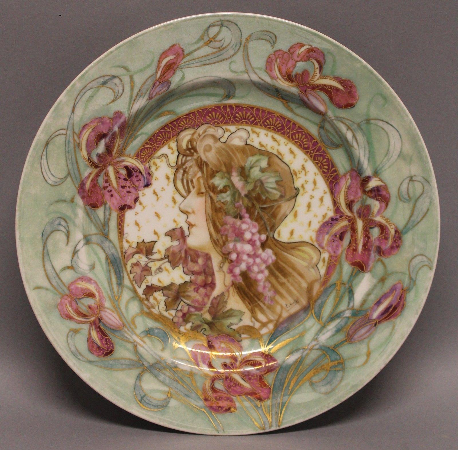 Antique Signed Sevres French Art Nouveau Woman Porcelain Hand Painted Plate   eBay