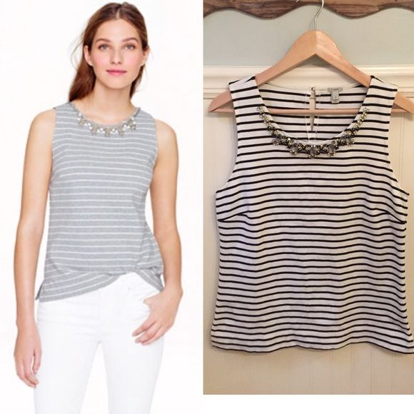 "J.Crew S Stripe Necklace Shell Top Black White EUC  J.Crew   Size Small   Stripe necklace shell in black & white (model in gray)   Cotton ponte   Excellent used condition!    Bust: 17.25"" across the front, lying flat. Has stretch.    Length: 24"" from shoulder to hem.   ✳️ Bundle to Save 20%!  ❌ No Trades, Holds, PP   100% Authentic!    Suggested User // 800+ Sales // Fast Shipper // Best in Gifts Party Host!  J. Crew Tops"