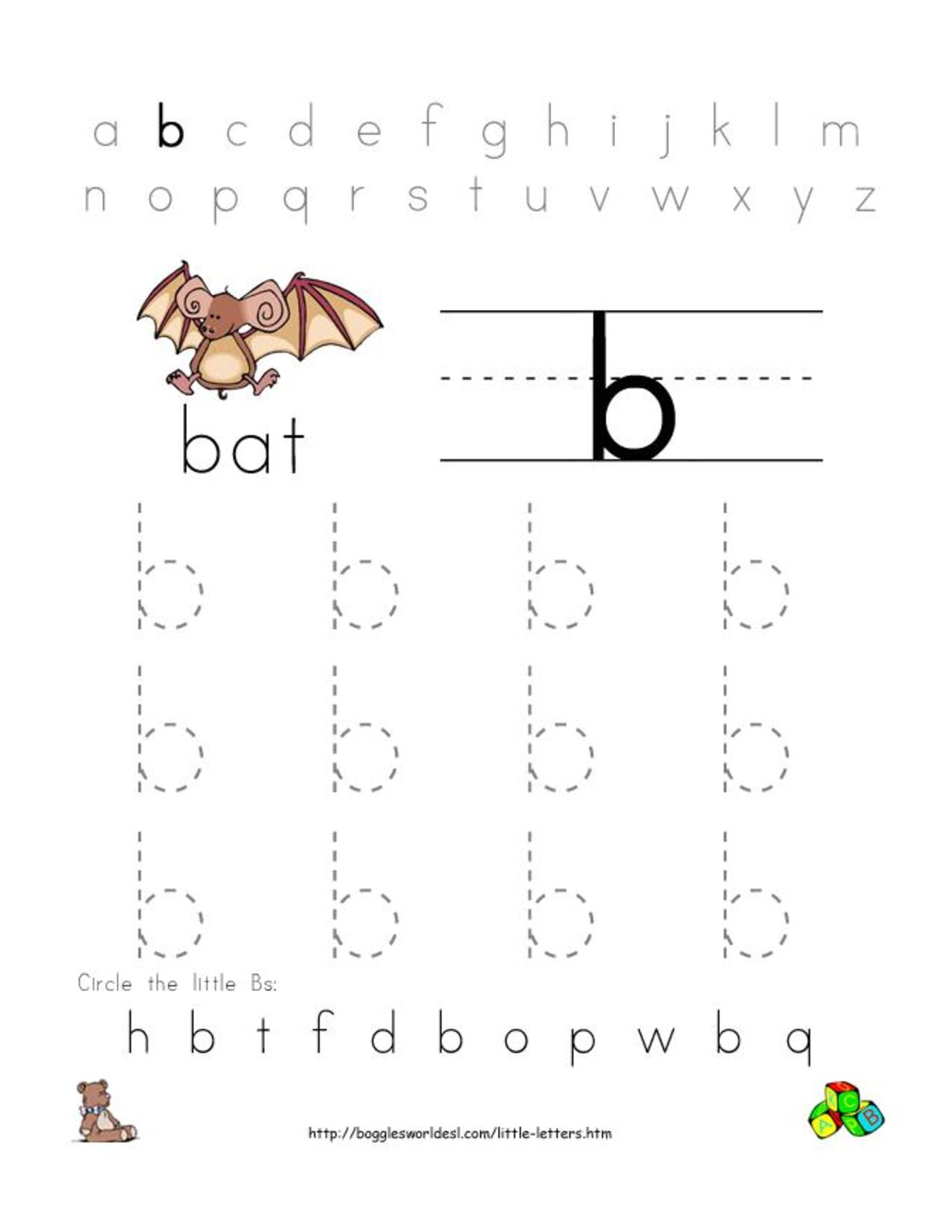 Pre-K Alphabet Worksheets | Alphabet Worksheet Little Letter B ...
