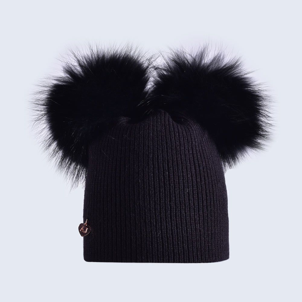 cba2d504cf7 Adult double fur pom pom bobble hat in Black Fine rib knit double raccoon  fur pom pom hat