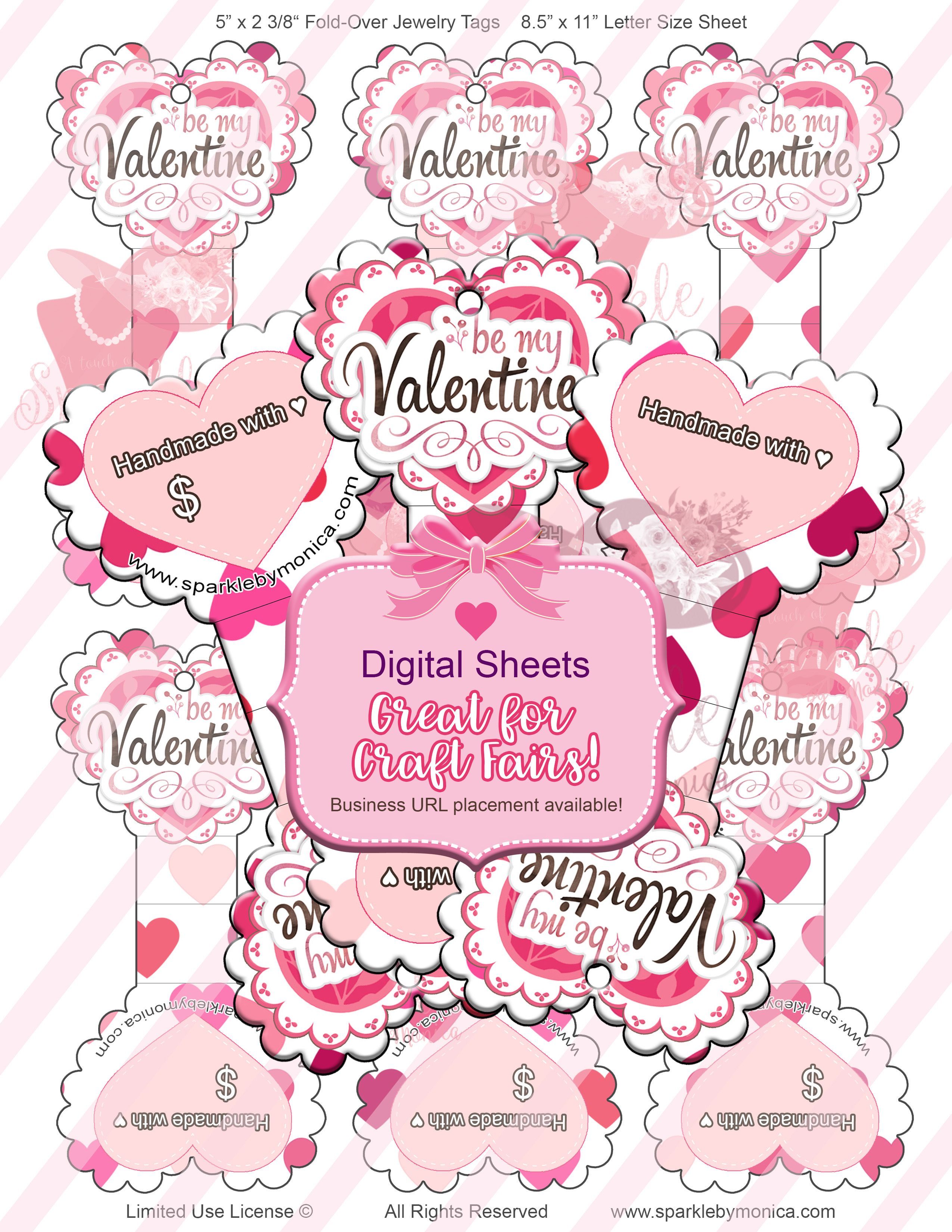 Valentine Heart Shaped Jewelry Hang Tags, Digital Jewelry Cards ...