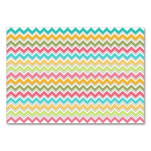Cool Colourful Trendy Zigzag Chevron Pattern Table Cards