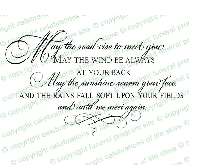 Funeral Quotes  Irish Blessing Funeral Quote Elegant Title - memorial service invitation wording