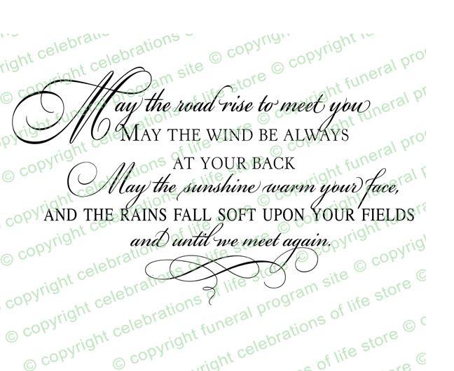 Funeral Quotes  Irish Blessing Funeral Quote Elegant Title - memorial service invitation wording