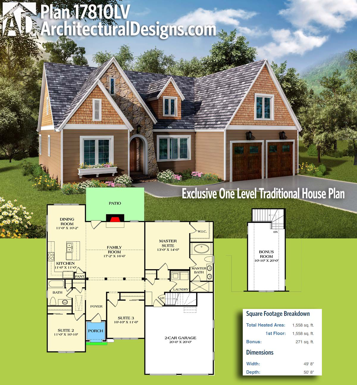 Plan 17810LV: Exclusive One Level Traditional House Plan | Pinterest ...