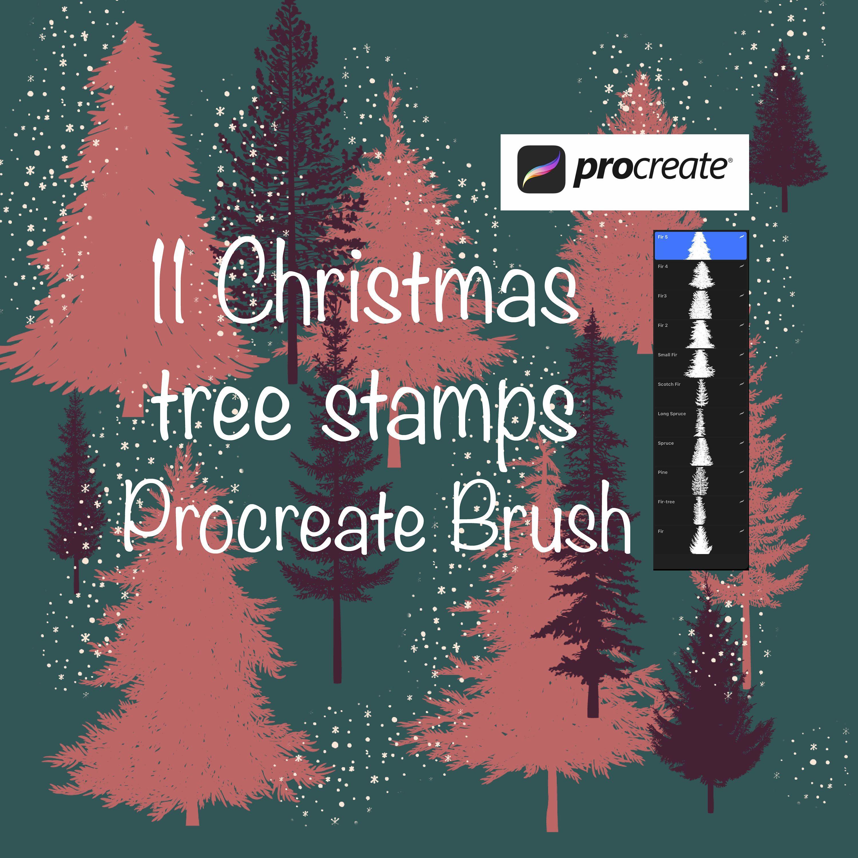 11 Christmas Tree Stamps Tree Stamp Set For Use With Procreate Etsy In 2020 Tree Stamp Procreate Stamp Set