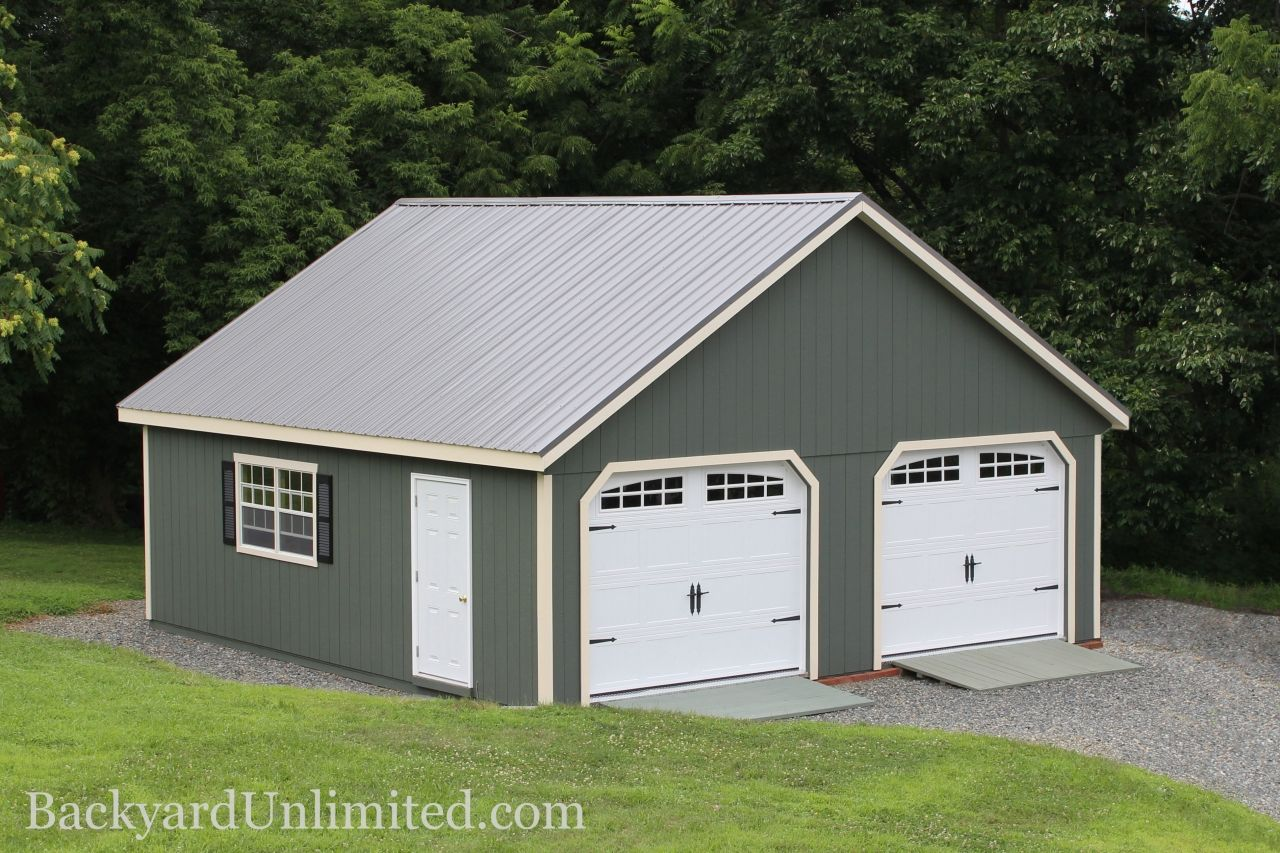 garage bedroom addition%0A New England Style   Car Garage with Heritage Garage Doors  Ramps  Metal  Roof and Vinyl Shutters