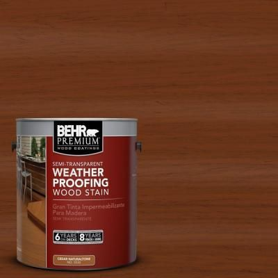 BEHR Premium 1 Gal ST 130 California Rustic Semi Transparent Weatherproofing Wood Stain 507701 At The Home Depot