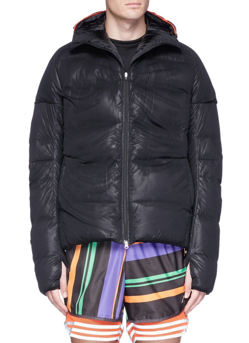 ADIDAS BY KOLOR Mesh overlay down puffer jacket