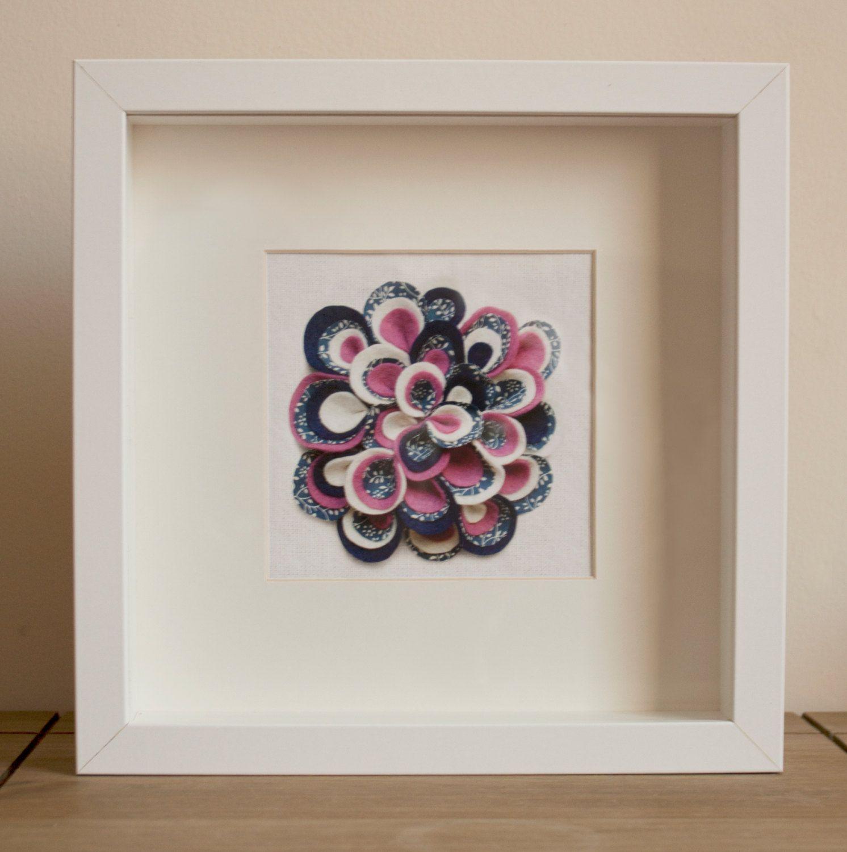 Printed Handmade Bloomin Felt Flower, Blue & Pink, White Box