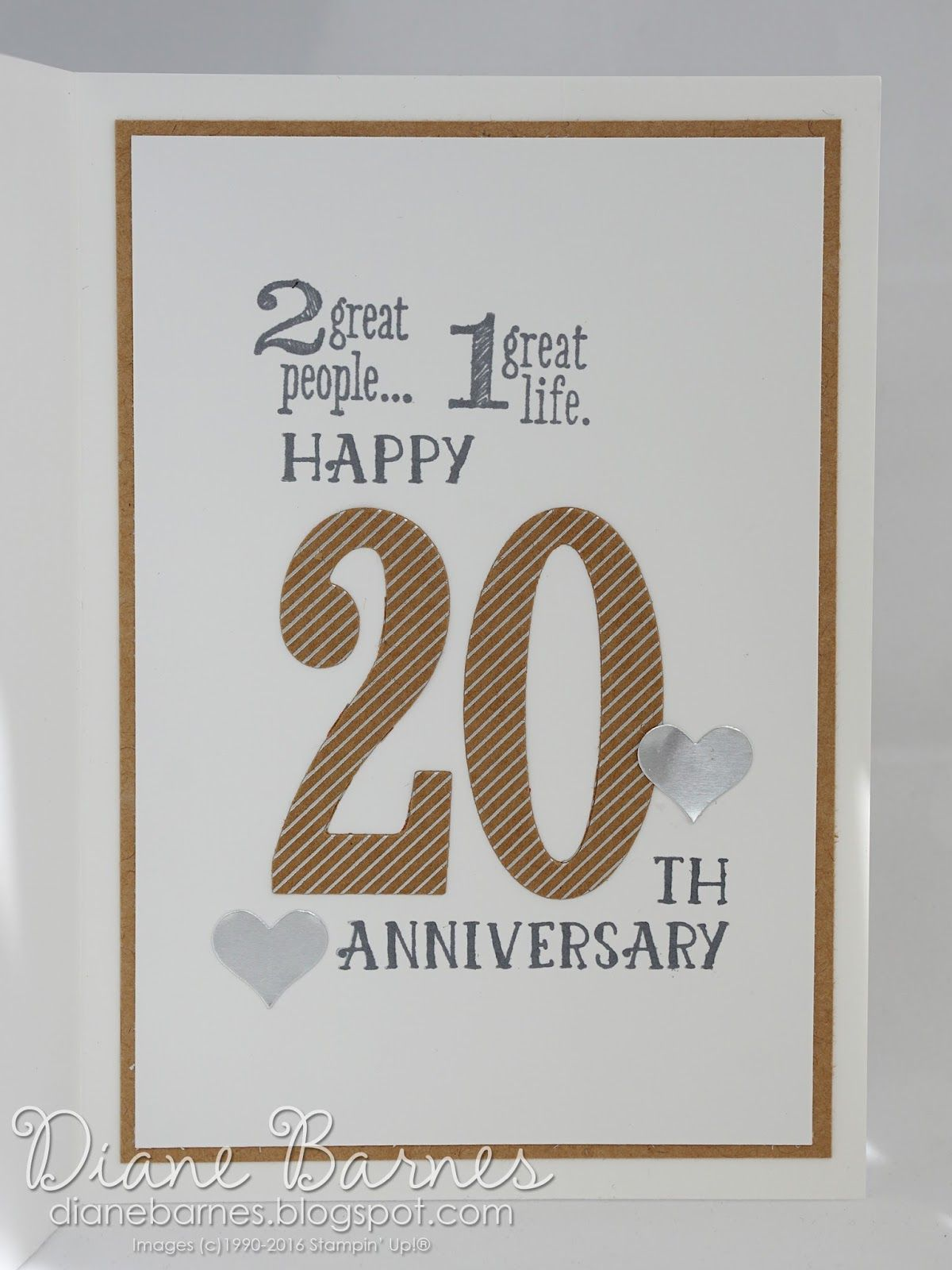 Inside Of Neutral 20th Anniversary Card Using Stampin Up Number Of