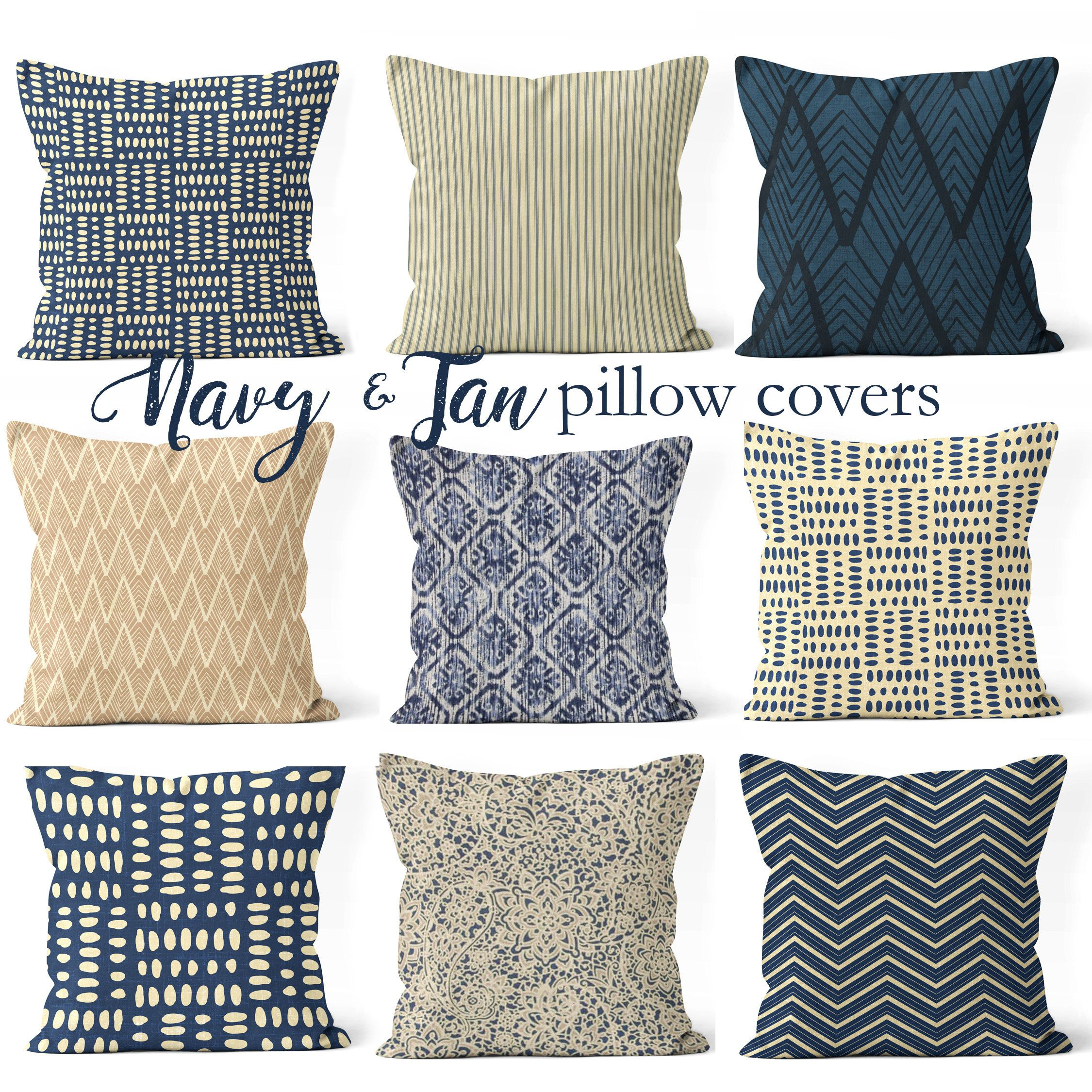 Throw Pillow Cover Set Mix And Match Pillow 14 X14 16 X16 18x18 Or 20 X20 Tan And Navy Blue Pillow Covers For Pillows Navy Blue Pillows Blue Pillow Covers