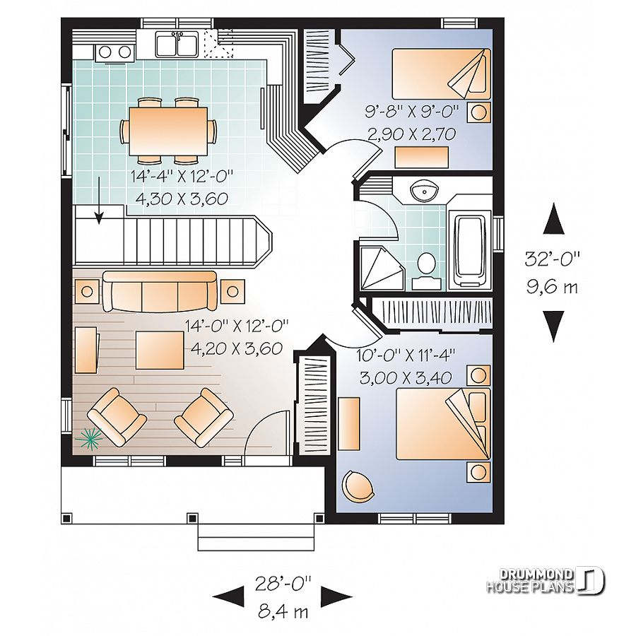 House plan 2 bedrooms, 1 bathrooms, 3113 Drummond House