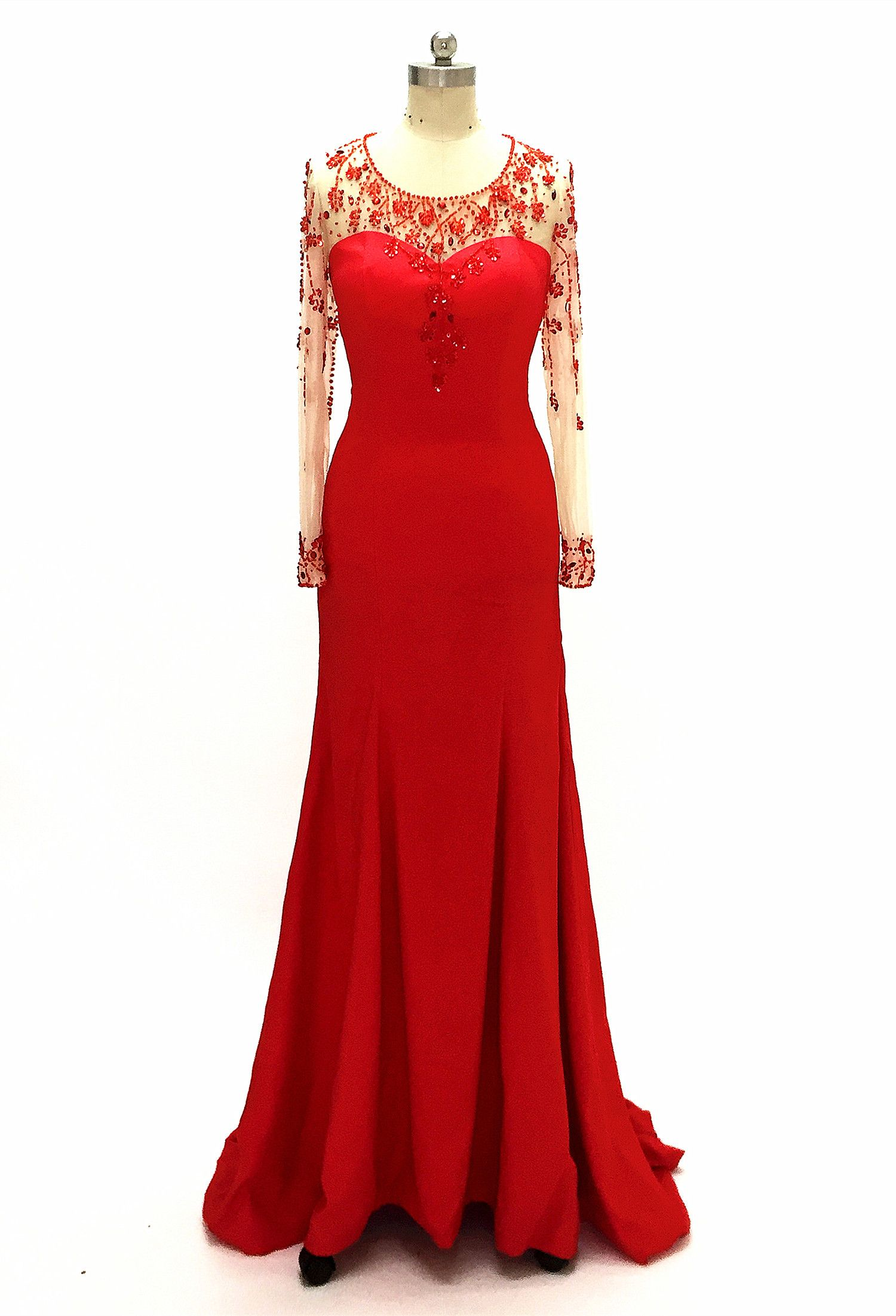 a01d88c2762 Red Prom Dresses 2019 Mermaid Evening Dress Long Sleeves Beaded O Neck Fashion  Formal Party Gowns  zhuetsydress wedding party dress for women s party gowns  ...
