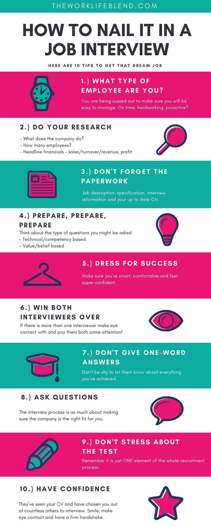 how to nail it in a job interview infographic  awesome tips to get your dream job   all the best