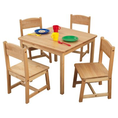 Kidkraft Farmhouse Table and 4 Chairs set - Natural, Espresso, or ...