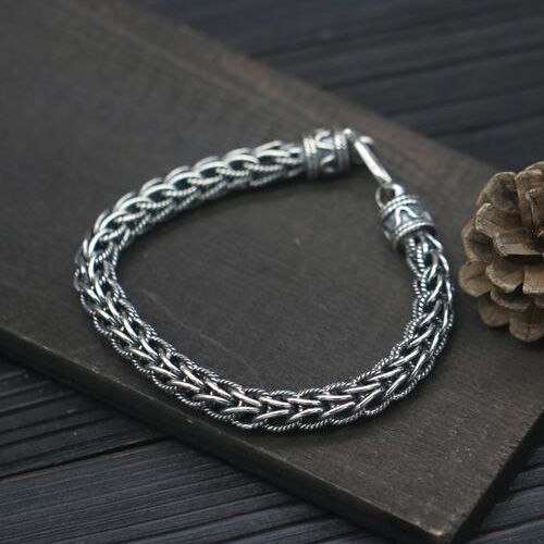 Men S Sterling Silver Rope Chain Bracelet