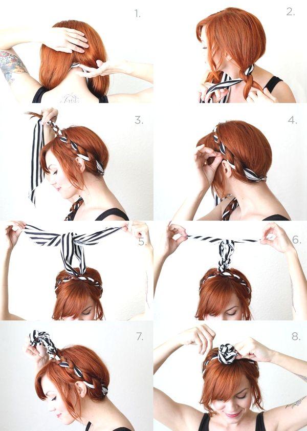 Summer Vacation Hairstyle Best Bun Scarf Hair Wraps Hairstyle Ideas Headband Hairstyles Hair Styles Hair Tutorial