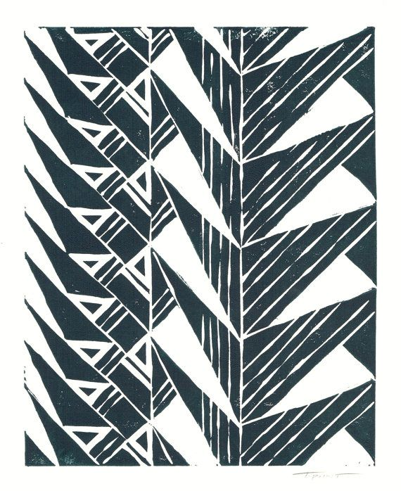 Sale print geometric tribal triangles linocut 8 x 10 wall art black