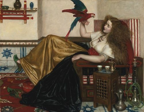 Valentine Cameron Prinsep (1838 - 1904) - The lady of the Tooti-Nameh or The legend of the parrot