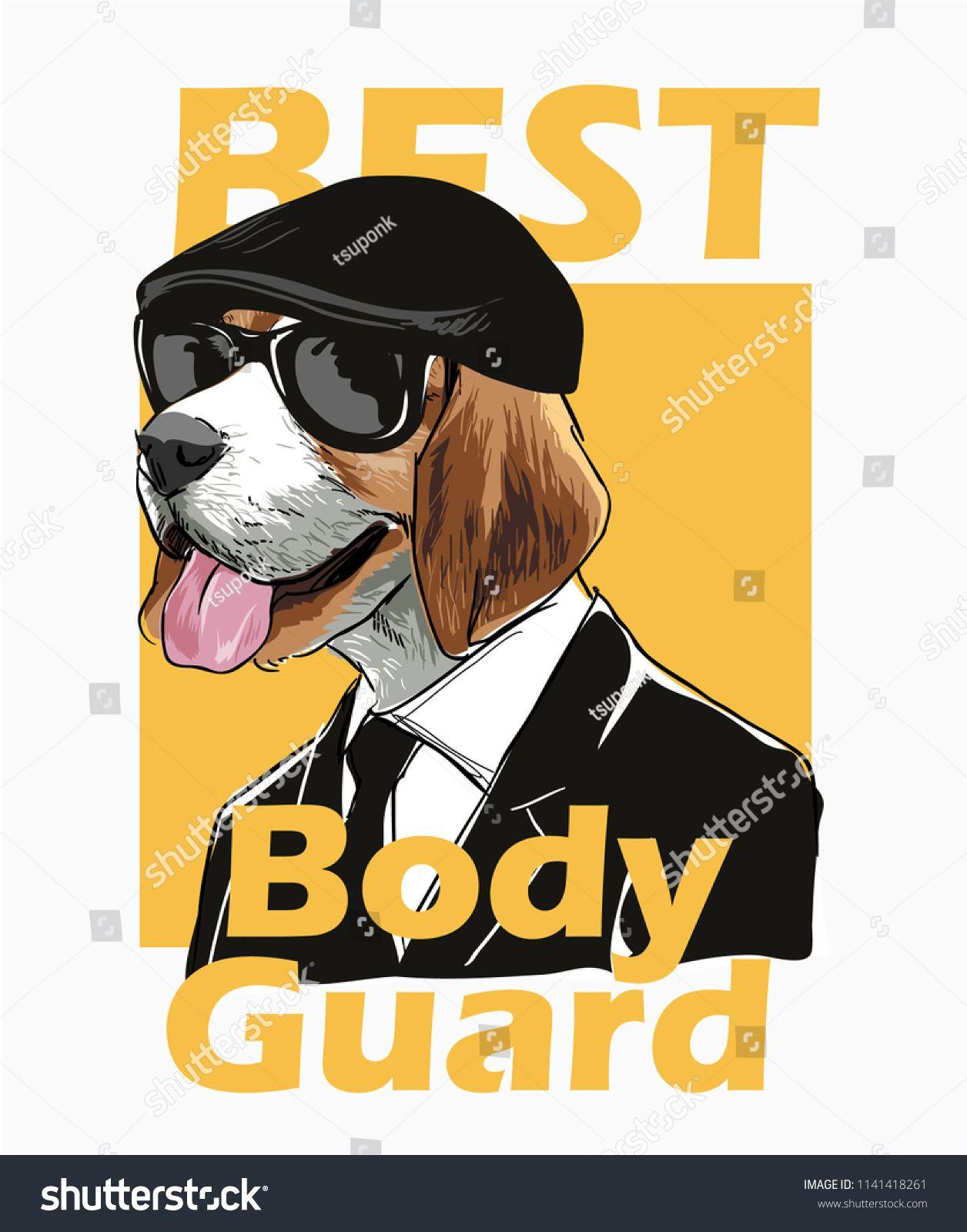 Slogan With Dog Bodyguard Illustrationdogsloganillustration