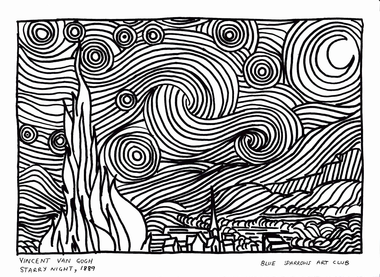 Starry Night Coloring Page Elegant Van Gogh Starry Night Coloring Page Vincent Van Gogh In 2020 Van Gogh Coloring Starry Night Van Gogh Vincent Van Gogh Art