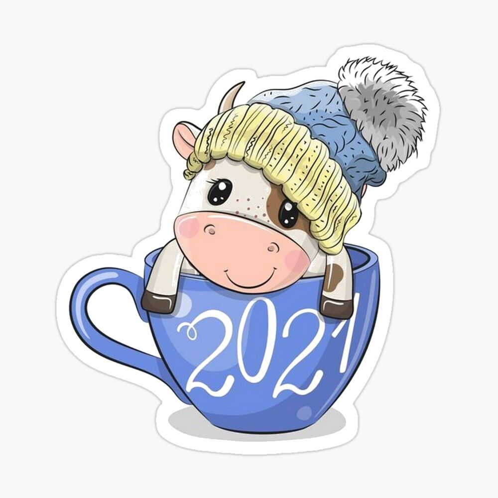 Symbol Of The New Year 2021 Sticker By Nataliya89 In 2021 New Year Art Christmas Drawing Cute Art
