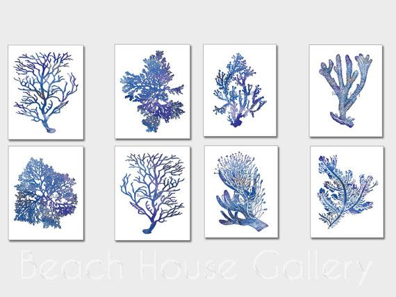 Indigo Blue Coral Prints, Blue Sea Coral Print Set Of Eight, Coral Wall Art