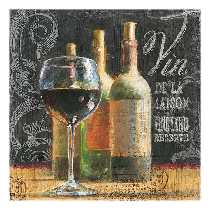 Blackboard Wine Canvas Wall Art, Black