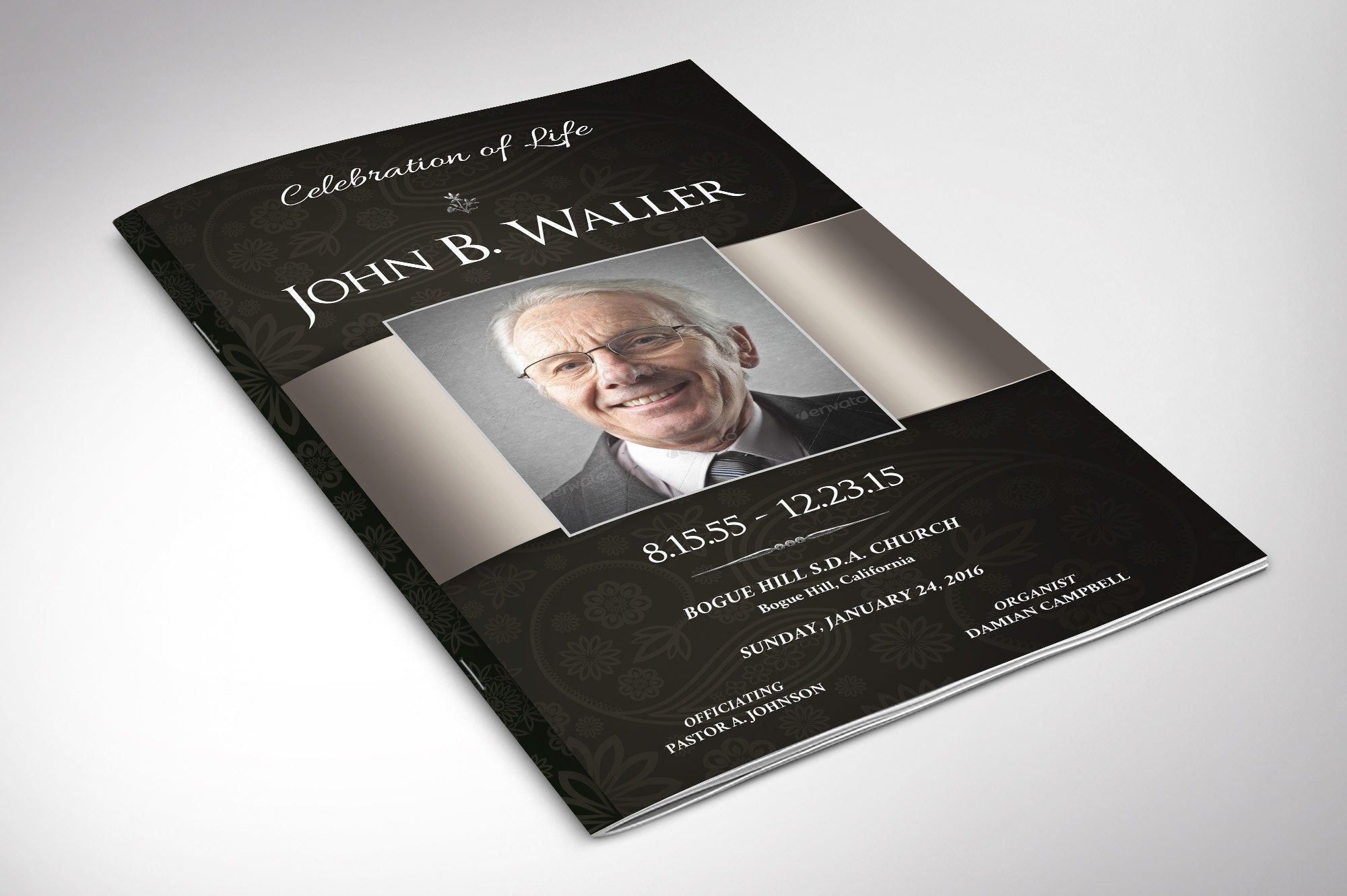 Black silver dignity funeral program publisher word