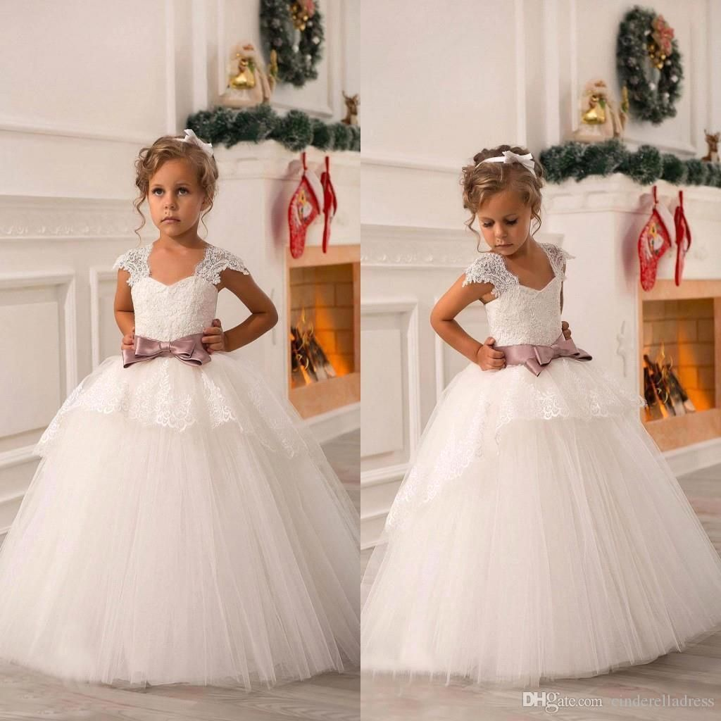 2015 New Cute Off Shoulders Lace Sash Ball Gown Net Baby Girl