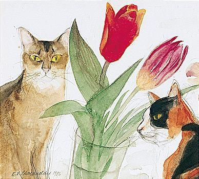 Elizabeth Blackadder Cats And Tulips 17 5 By 19 5cm 7 By 7 3 4 In Watercolour Over Pencil 1986 Private Collection Cat Art Cat Painting Artwork