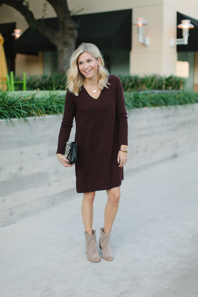burgundy sweater dress with tan booties | Looks to Love - Fall ...