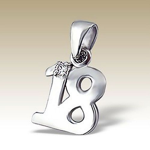 Number 18 Pendant 925 Sterling Silver CZ Stones Eighteenth Birthday NEW
