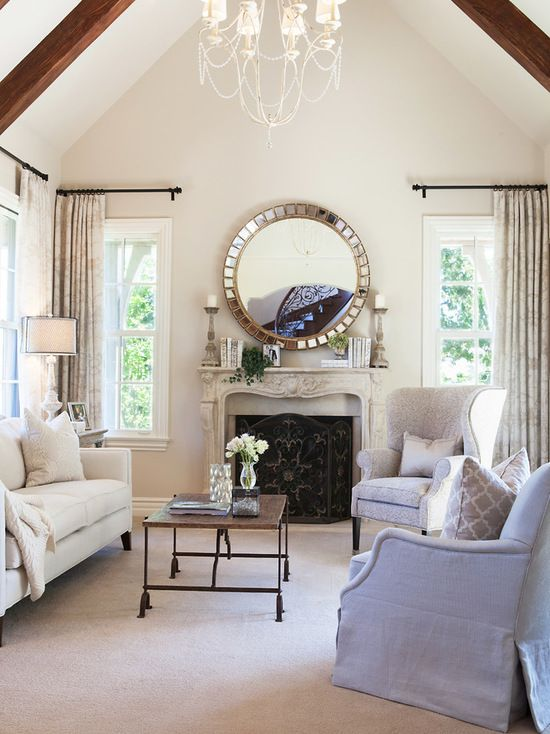 Living Room Design Ideas Benjamin Moore: Traditional Living Room Painted In Elmira White By