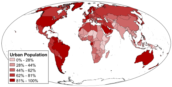 This Is A Map Of The Urban Population Percentage Of Each Country
