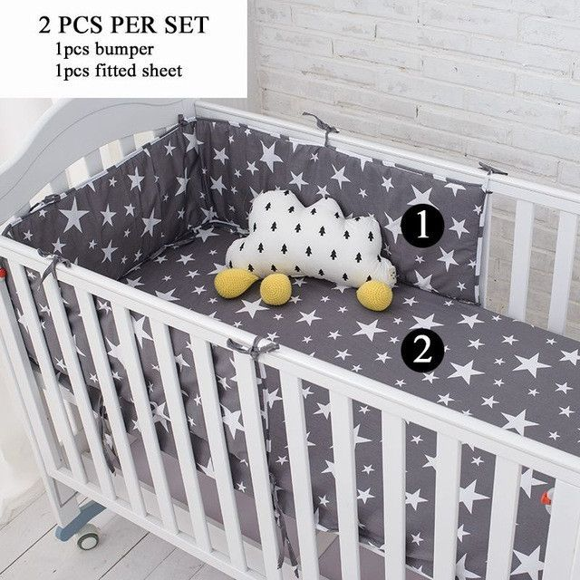Muslinlife Grey Star Bedding Set Multi Functional Baby Safe Sleeping Baby Bed Bumpers Set Soft Baby Cot Bed Hangin Safe Sleeping Baby Baby Cot Bedding Baby Bed
