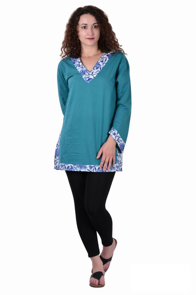 Cotton Plain C Green Color Summer Dress Kurti Tunic Top Dresses Size M L