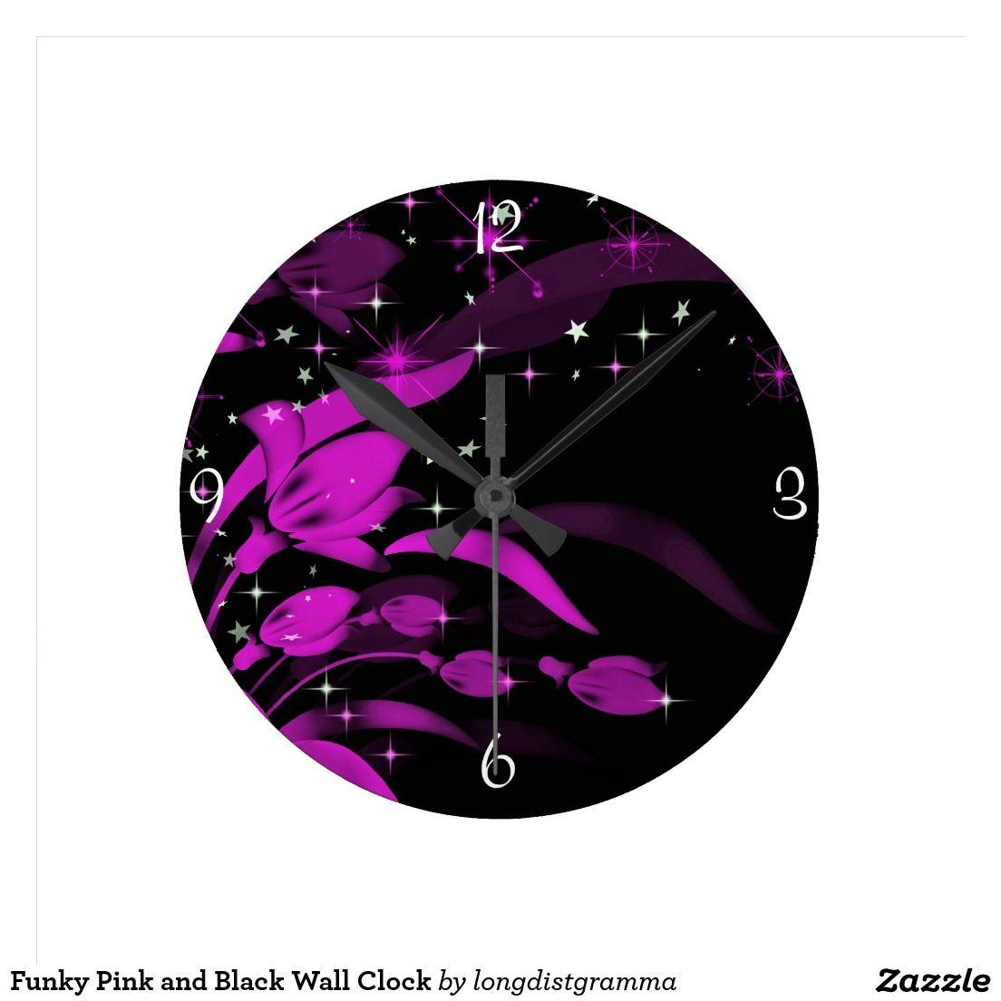 Fleurs roses au néon, horloge murale noire Zazzle.ca