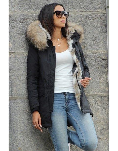 Doudoune noire et blanche capuche fourrure Brentiny Paris