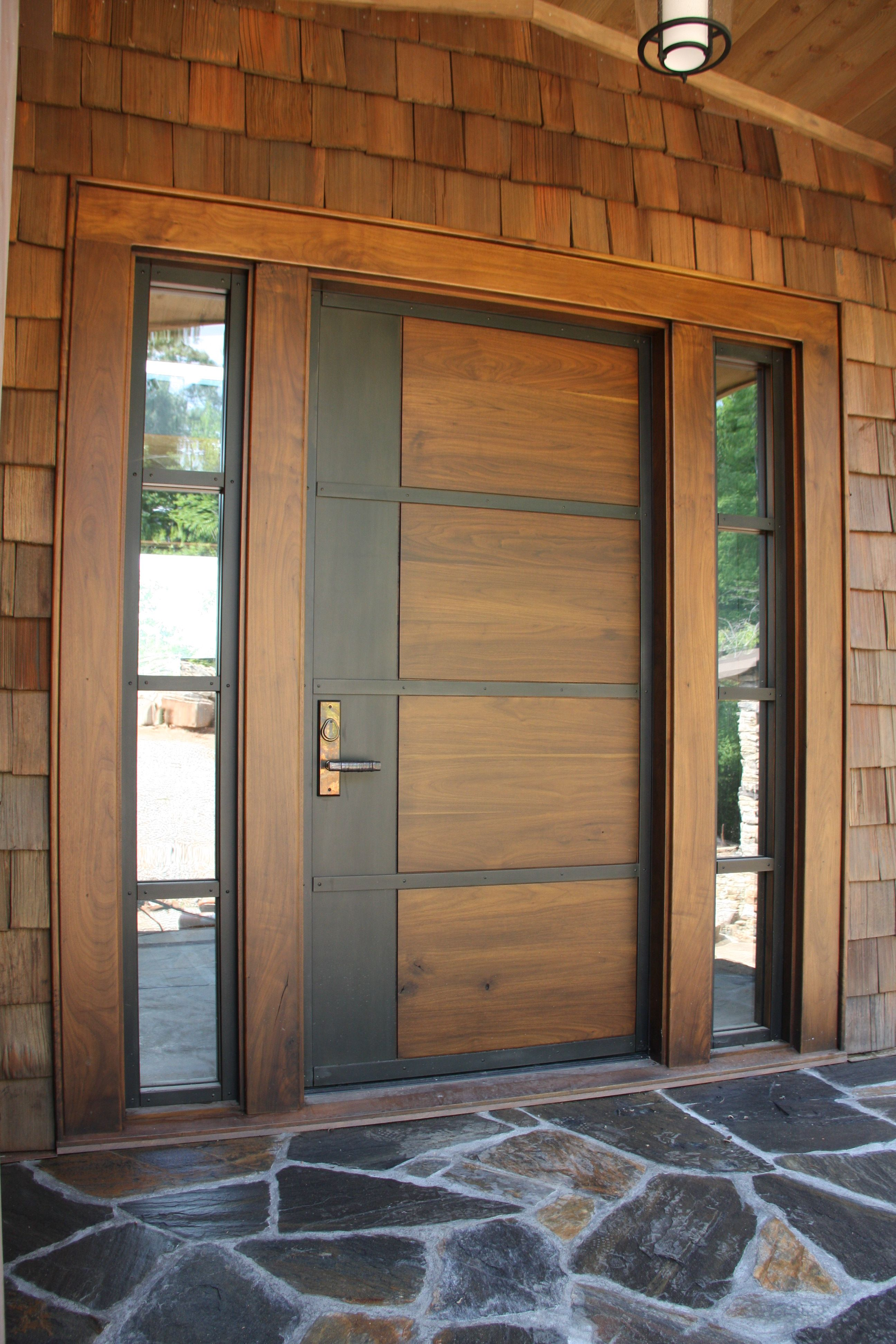 Contemporary Entry Black Walnut With Metal Inlays