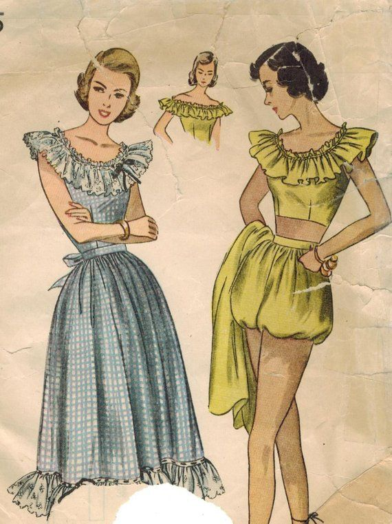 06537e7603d 1940s Simplicity 2445 Vintage Sewing Pattern Misses Sun Dress and 3 Piece Playsuit  Size 12 Bust 30
