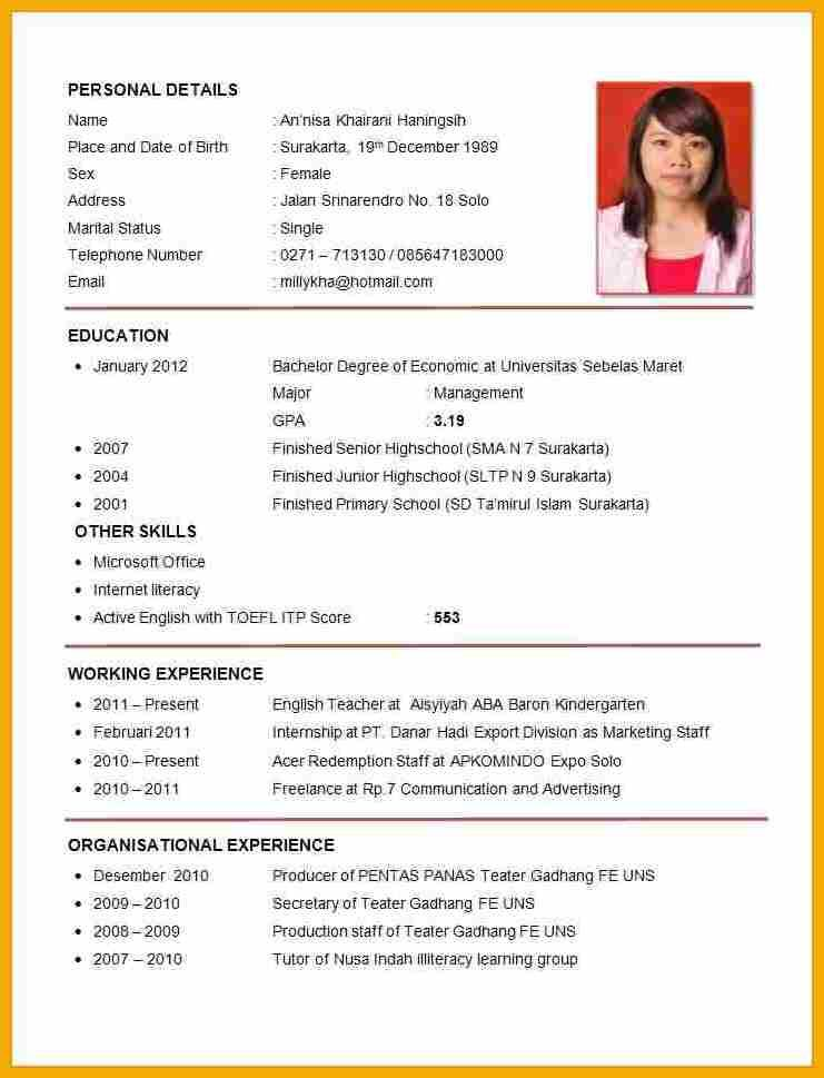 9+ example of curriculum vitae for job application | bursary cover ...