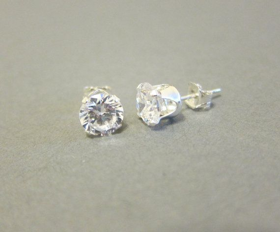 Sterling Silver 6 Mm Cubic Zirconia Stud Earrings Fake Diamond Simple Crystal E