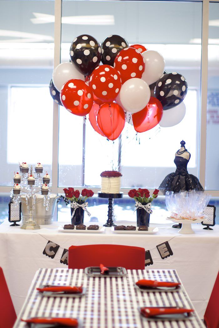 Black White Red Elegant Birthday Party via Karas Party Ideas