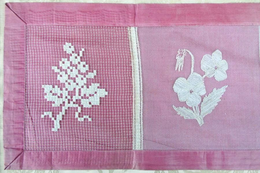 Six-Panel Sampler, Circa 1910, £65 by Galontique -  Beautiful Six-Panel Sampler Backed in Rose Glazed Chintz.  Very Slight Yellowing on Lace pieces.  50 inches (1.27 metres) Wide by approximately 10½ inches (27 centimetres) Tall.
